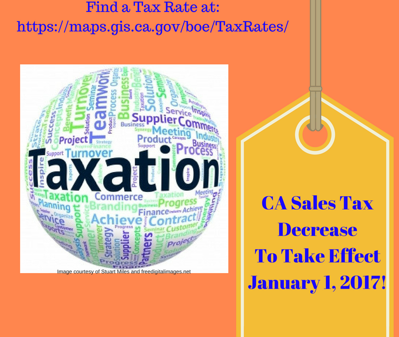 New CA Sales Tax Rate Effective January 2017