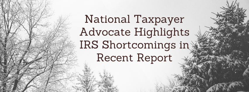 National Taxpayer Advocate Highlights IRS Shortcomings in Recent Report